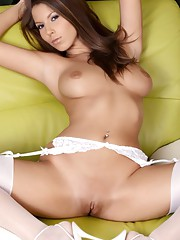 Smoking hot brunette wearing her favourite white lingerie.